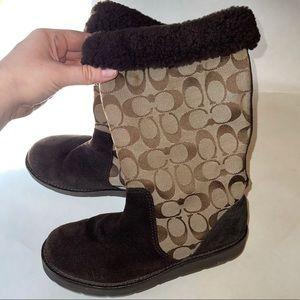 Coach 7 Brown Flat Kally Boots NICE